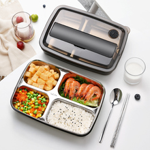 Oneisall Bento Lunch Box Kitchen Food Container Stainless Steel Plastic 1200ml Lunchbox For Kids Heated Japanese Style