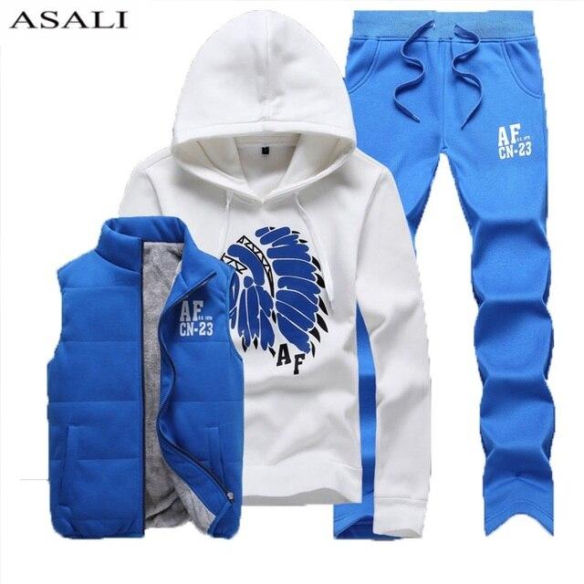2788a7d2 Из трех частей спортивный костюм Для мужчин зимние толстые флисовые  толстовки для мужчин спортивные костюмы брюки