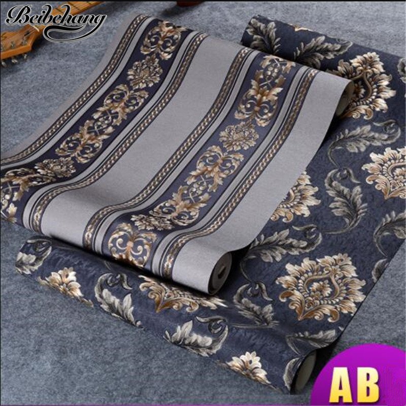 beibehang European embossed gilt wallpaper luxury Damascus wallpaper bedroom living room AB version of vertical wall wallpaper футляр для очков mad wave black azure m0707 01 0 08w