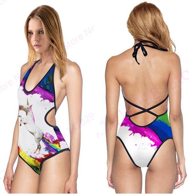 7cd40987c5 Colorful Unicorn Brazilian Biquinis Rainbow Horse V Neck Monokini Swimwears  White Halter High Waist Swimsuit Womens Sexy Cut Out