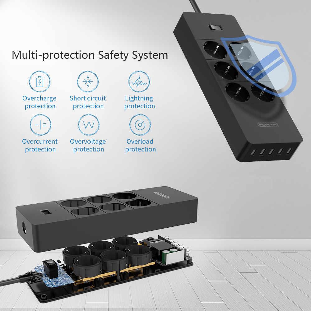 Filtr sieciowy NTONPOWER inteligentna listwa zasilająca Multi Plug 5 gniazdo usb Protector-1.5m przeciwprzepięciowa przewód zasilający adapter do ładowarki ściennej do Hom