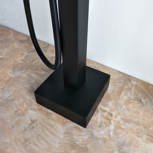 Bagnolux оптовая продажа матовый черный квадратный отдельно стоящий кран для ванной с носиком Смеситель для душа напольный кран с одним рулем н...