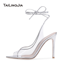 Women Clear Slingbacks Sliver Sexy High Heel Pointed Peep toe Latest Ladies Heeled Summer Transparent Shoes Stiletto Heels