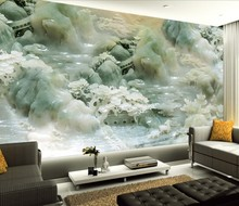 лучшая цена Customized wallpaper mural  3D Chinese pattern with jade carving behind sofa as background in living room