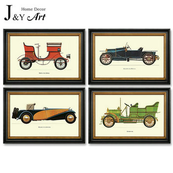 Canvas Painting Printing Classical antique cars with black frame For Home Decoration J&Y Art  JY-353