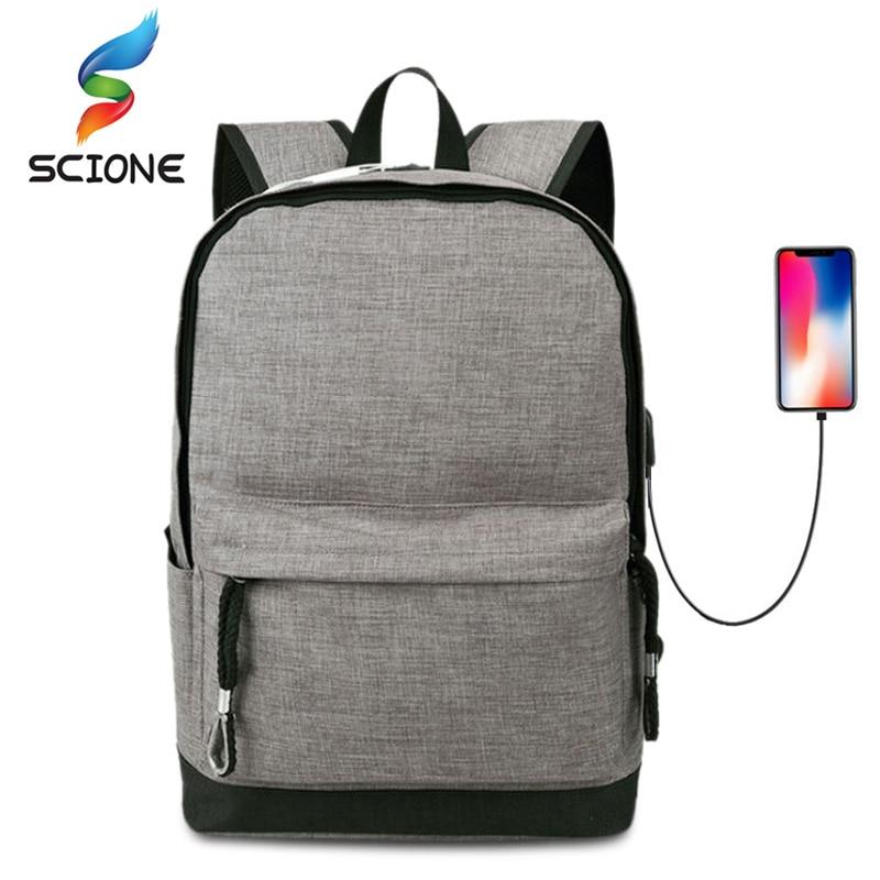 Waterproof Oxford Cloth Teenager School Shoulder Bag Multi-function USB Charging Laptop Bags Fitness Men Business Leisure Bag