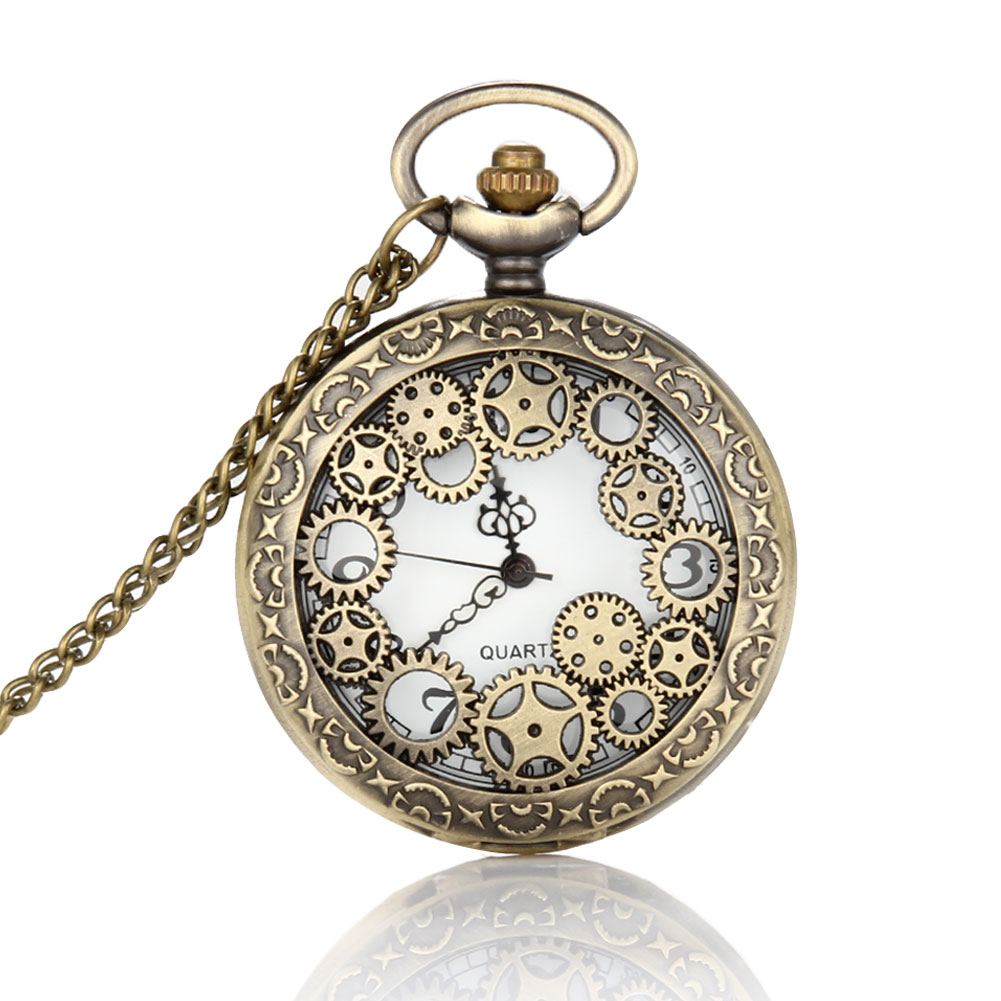 Retro Design Pocket Watch Hollow Gear Fob Watch Vintage Bronze Pocket Watch Necklace Chain Pendant Girt For Women Men  LL@17 retro steampunk bronze pocket watch eagle wings hollow quartz fob watch necklace pendant chain antique clock men women gift