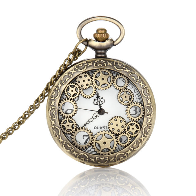 Retro design pocket watch hollow gear fob watch vintage bronze retro design pocket watch hollow gear fob watch vintage bronze pocket watch necklace chain pendant girt mozeypictures Gallery