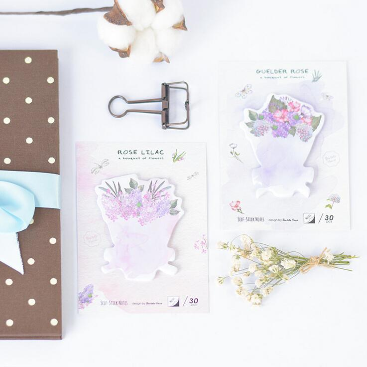 BentotoHouse Bouquet Flowers  Self-Adhesive Memo Pad Sticky Notes Bookmark School Office Supply