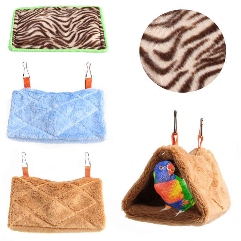 1pc Bird Parrot Plush Hammock Warm Hanging Bed Cave Cage Hut Tent Toy House 3 Types For Small Animals