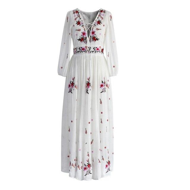 0f4ed36b6e TEELYNN White boho long dress cotton 2018 Vintage floral Embroidery Sexy v-neck  dresses party women dress brand clothing vestido
