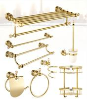 Top High Quality Solid Brass Gold Finish Bathroom Accessories Set Robe Hook Paper Holder Towel Bar
