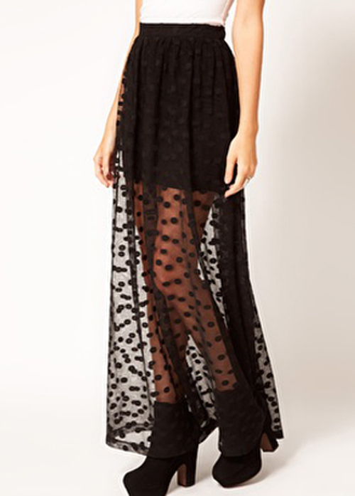See Through Long Skirt - Skirts