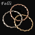 2017 Latest Dubai Gold Filled Bangles Fashion Silver Rose Gold Plated Cuff Bracelet Twist Bnagles Folli Jewelry Design 65MM