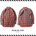 Best Version  2016 Fall Winter FEAR OF GOD Justin Bieber 4th Collection Flannel Red Plaid Extended Casual Long Sleeve Men Shirts