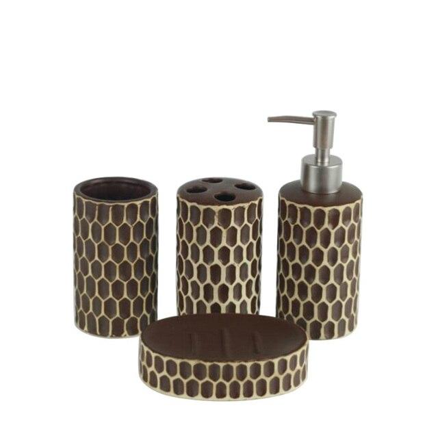 4 Teile/satz Bad Accessoires Keramik Badezimmer Set Zubehör Einfache Weiße  Farbe Zahnbürste