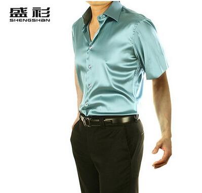 ZOEQO, новинка, брендовая летняя стильная Высококачественная шелковая мужская рубашка с коротким рукавом, повседневная мужская рубашка, camisa masculina camisas hombre - Цвет: 20 light green