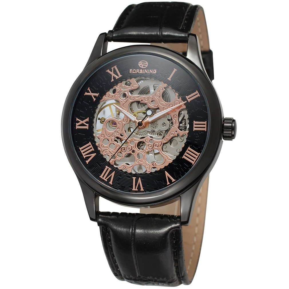 Top Brand Luxury Forsining Roman Black Gold Design Men Skeleton Watch Mechanical Wristwatch Male Gift Clock Relogio Montre Homme ks black skeleton gun tone roman hollow mechanical pocket watch men vintage hand wind clock fobs watches long chain gift ksp069