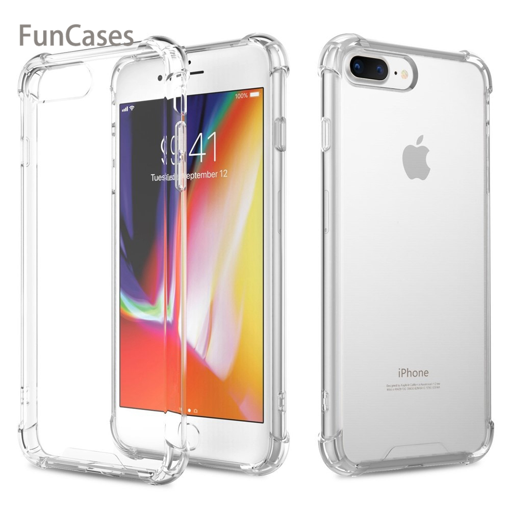 Case for iPhone X 8 7 6 6s Plus 5 5s SE Cover Transparent Silicone Air Cushion Bumper Clear Soft TPU & Hard PC Cover Funda Coque(China)