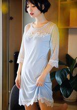 Casual Shirt Women s Night 2018 New Spring Summer Nightgown Female Lace Sleepwear  Night Dress Slim Blue Pink Homewear Nuisette 476263428