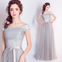 2017 new arrival stock maternity plus size bridal gown silver evening dress grey long sexy satin tulle long strapless a line 183