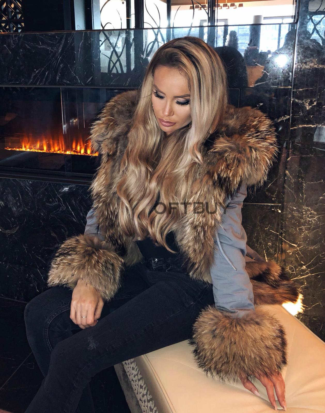 OFTBUY 2019 Real Fur Coat Long Parka Winter Jacket Women Natural Raccoon Fur Collar Real Fox Fur Liner Detachable Streetwear New