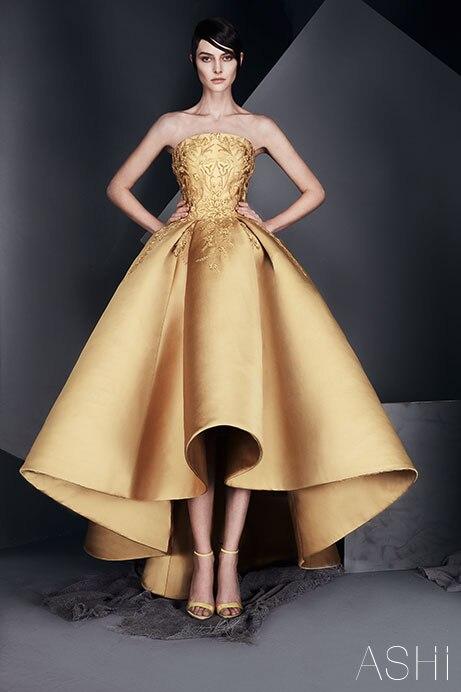 New Arrivals 2017 Ashi Studio Strapless High Low Gold Appliques Tea-length Evening Dresses