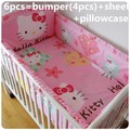 Promotion! 6PCS Hello Kitty Bedding Sets,baby crib baby bed set cover, baby bed set, (bumper+sheet+pillow cover)