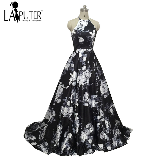 2017 Custom Made Halter Black Printed Ball Gown Puffy Western Style ...