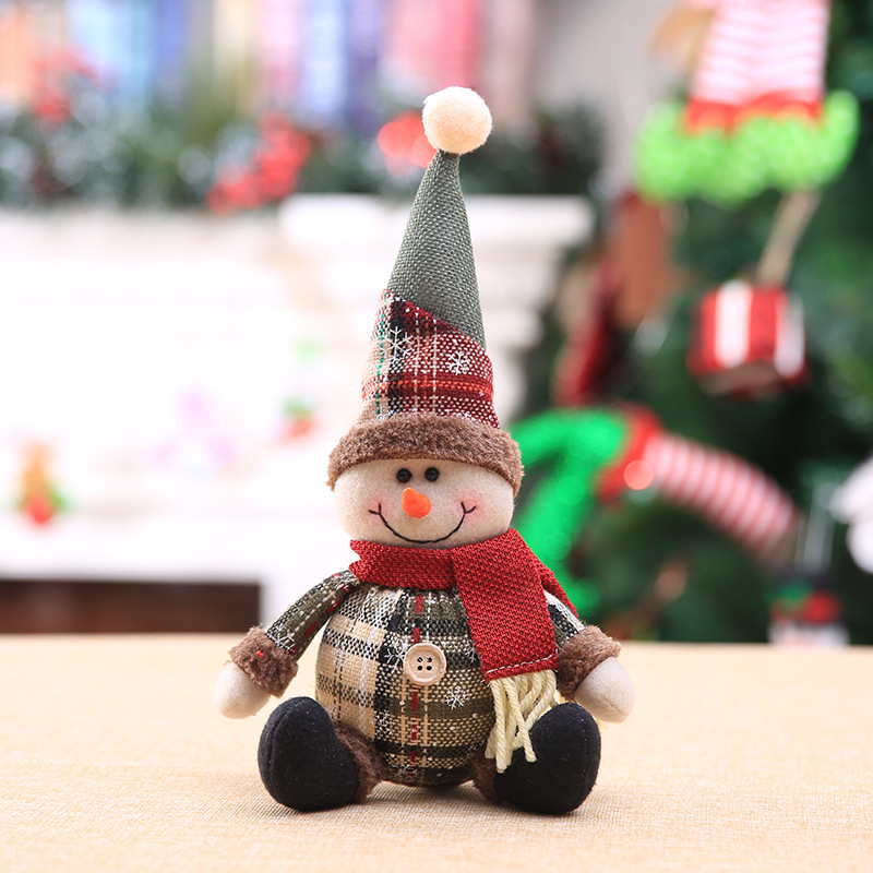 2019 Merry Christmas Tree Ornaments Christmas Decorations for Home New Year gift Children Snowflake Elk Plaid Doll Hanging Natal (1)