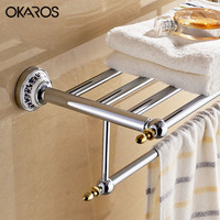 OKAROS Towel Rack Holder Towel Shelf Tower Rail Towel Hanger Stainless Steel Chrome Ceramic Decoration Bathroom Shelves