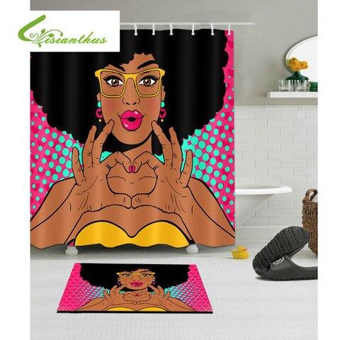 Lavável de Alta Decoração de Casa de Banho Cortina de Chuveiro do Banheiro Novo Colorido Eco Mulher Africano Impresso Poliéster Qualidade à Prova d' Água