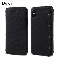 Dulcii For Apple IPhone X Leather Cases Ostrich Skin Genuine Leather Folio Flip Wallet Phone Cover