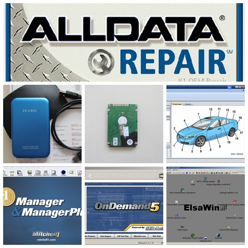 HOT!!! Auto Repair Software Alldata 10.53+Mitchell 2015+ELSA 4.1 etc 49 in1 with 1TB New Hard Disk Free DHL Shipping