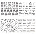 12 Sheets 3D Nail Art Sticker Black Cake Arrow Love English Letter Heart Number Pattern Decals Manicure Nail decoration