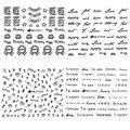 12 Hojas Del Clavo 3D Art Sticker Negro Pastel de Flecha Amor Inglés Carta Número Corazón Patrón Tatuajes de decoración de Uñas de Manicura