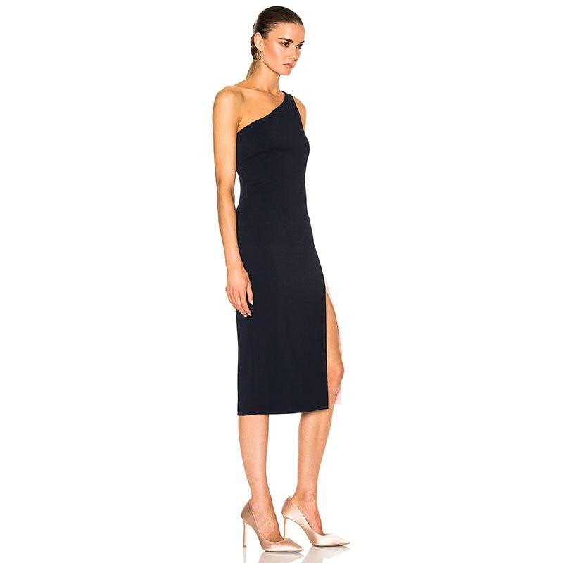 Celebrity Party Bandage Femmes De Nouveau Robes 2018 Pour Élégante Midi Style Mode Robe Manches Patchwork Épaule Sans Une FAnqCw