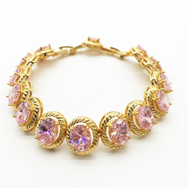 Luxury Popular Egg Shaped pink Stone AAA Cubic Zirconia Crystal Zircon Bridal Bracelet & Bangle Wedding Dinner Party Accessories