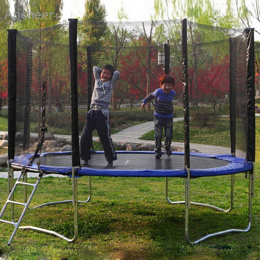 New 12ft 4 Arch 8 Pole Round Trampoline Netting Enclosure