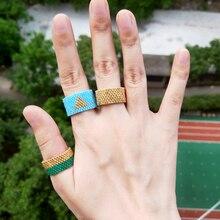 FAIRYWOO Boho Women Men Wedding Ring Set Geometric Fashion Jewelry Gold Miyuki Beaded Handmade Friendship Gift Gothic Rings