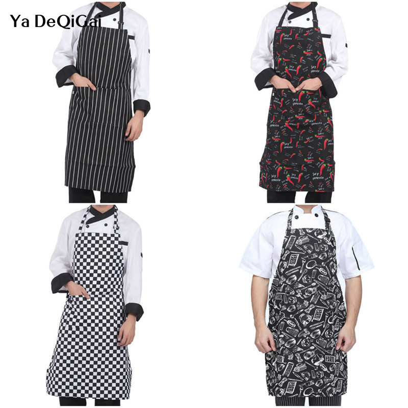 High Quality Adjustable Chef Kitchen Bib Aprons Women Men Cooking Aprons For Restaurant Baking Cooking Dress 8 Colors Wholesale