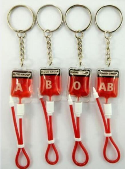 Hot Sale 50 Pcs Mixed  Blood Pack Key Chains  A B O AB Pendant Bag Gifts Favors L-1