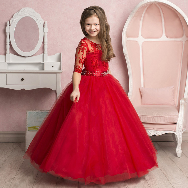 2a21abd2f8 Stunning red Lace Embroidery Sheer Half Sleeves Flower Girl Dress Beaded  Jewel Sash Tulle Kids Pageant Dress 0-14 Year Old