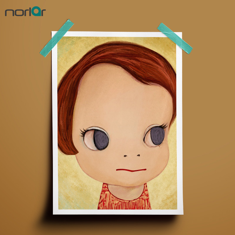 Home Paintings Wall Pictures Yoshitomo Nara Girls Oil Painting Print on Canvas Abstract Wall Art Kids Room Decor No Frame
