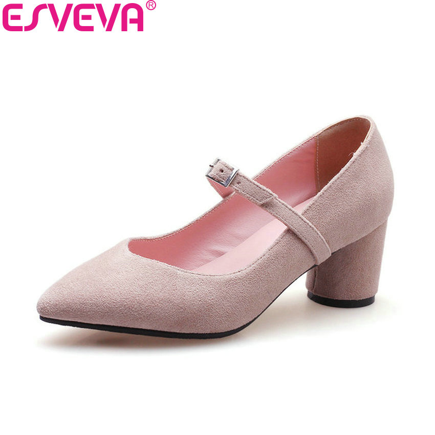 ESVEVA 2018 Women Pumps Shoes Western Style Square Heels Pointed Toe Buckle Spring and Autumn High Heels Women Shoes Size 34-43 esveva 2018 women pumps shoes slip on thin super high heels spring and autumn peep toe platform 5 5cm women shoes size 34 43