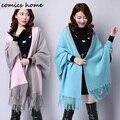 2016 Otoño Nuevo de Las Mujeres Elegantes de la Alta Sociedad de Cachemira Suéteres de La Rebeca de La Borla Del Batwing Mangas Bufanda Del Cabo Outwear Buena Calidad