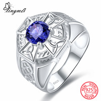 Lingmei New Arrival Classic Round Cut Blue Green CZ 925 Sterling Silver Ring Size 6 7