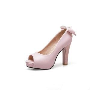 Image 4 - YMECHIC 2019 White Wedding Shoes Bride Women High Heel Pumps Peep Toe Slip Bowtie String Bead Ladies High Heels Shoes Plus Size