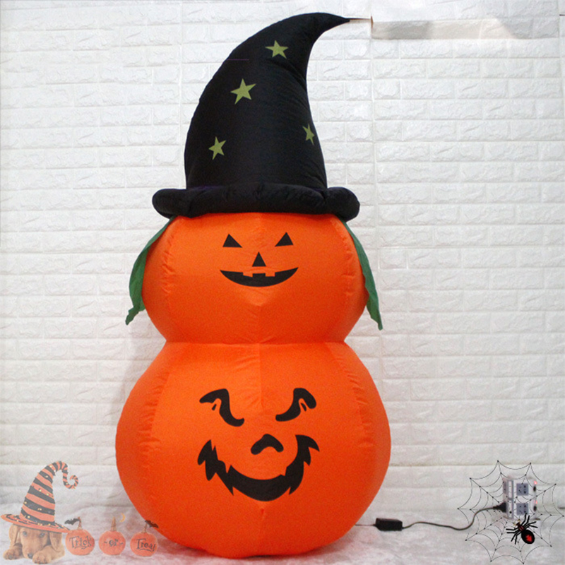 Us 51 12 41 Off 1 5m Giant Inflatable Led Lighted Pumpkin Tower Jack O Lanterns Air N Outdoor Yard Decorations Party Props In