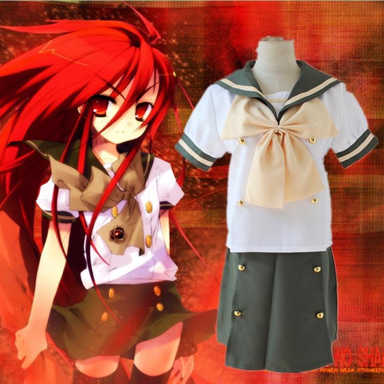 Anime Shakugan No Shana School Uniform Cosplay Costume Shana Short Sleeve Sailor Suit Full Set ( Top + Skirt + Bow tie )